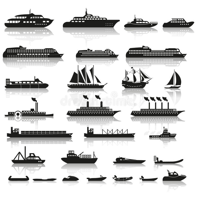套船和小船 皇族释放例证