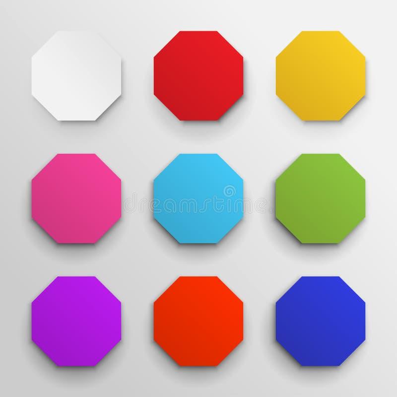 套色的八角形物象组装 几何八角型五颜六色八支持多角形八角形物线 也corel凹道例证向量 隔绝在白色 皇族释放例证