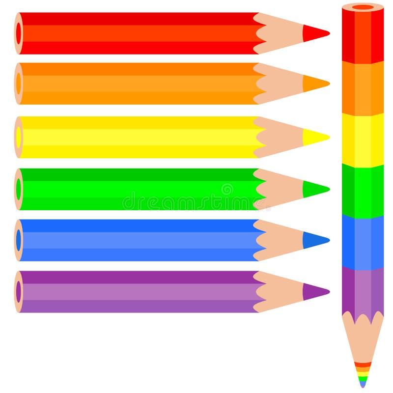 套色的铅笔,彩虹铅笔近 向量例证