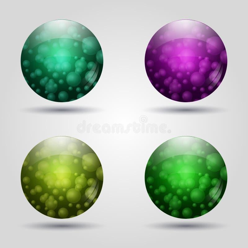 套色的3d按钮 图标符号符号万维网 10个背景设计eps技术向量 向量例证