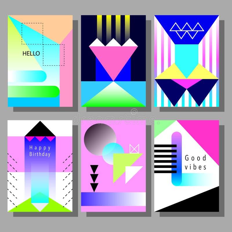 套艺术性的五颜六色的卡片 孟菲斯时髦样式 有平的几何样式的盖子 库存例证