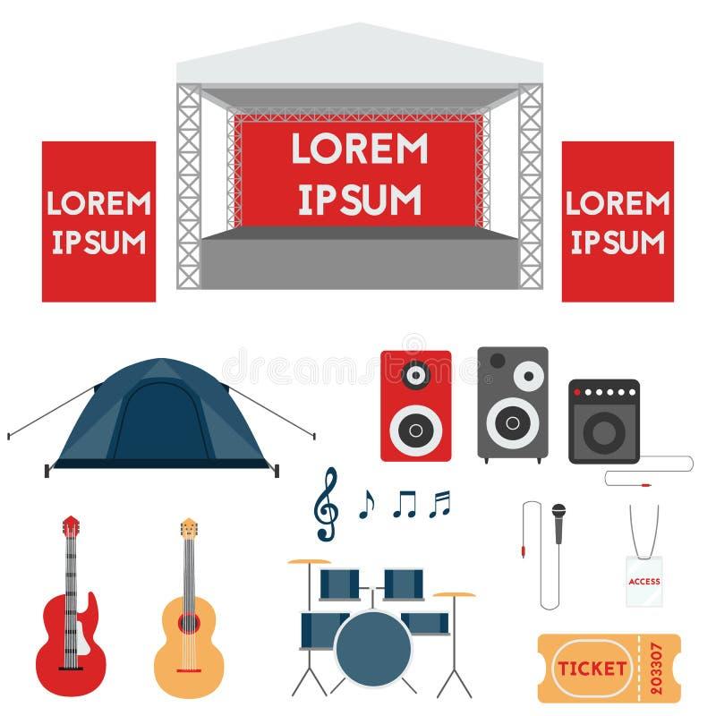 套节日或摇滚乐音乐会元素 向量例证