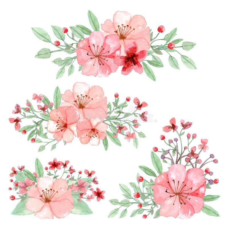 套花、叶子和分支安排 库存例证