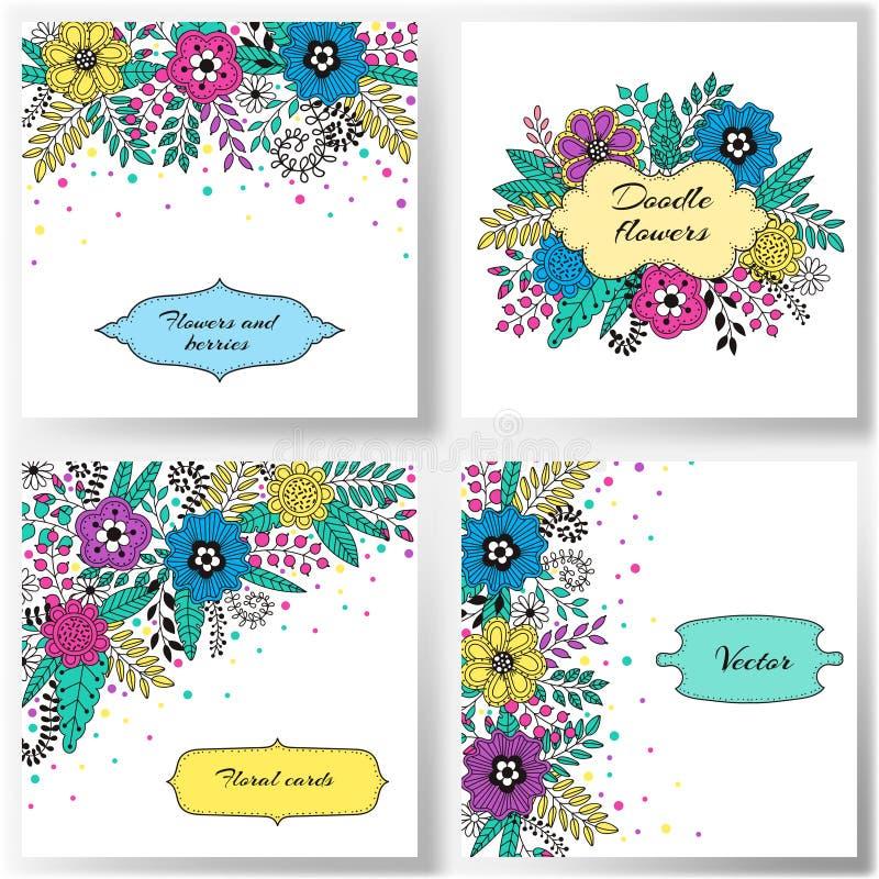 套花卉传染媒介卡片 向量例证