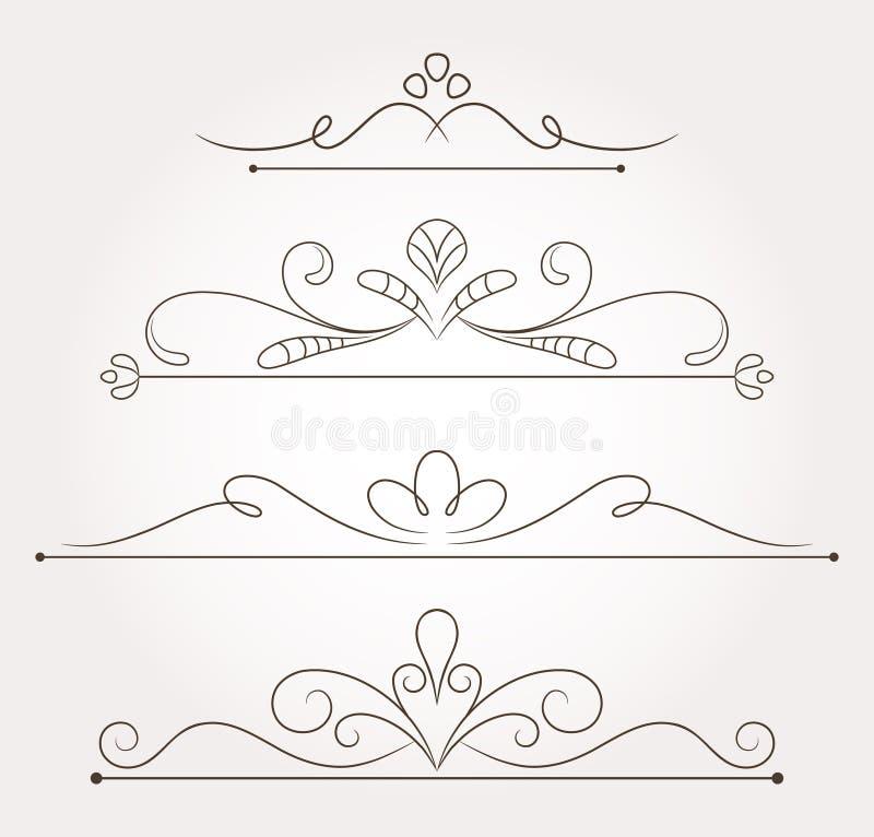 套花卉设计元素和页装饰 皇族释放例证