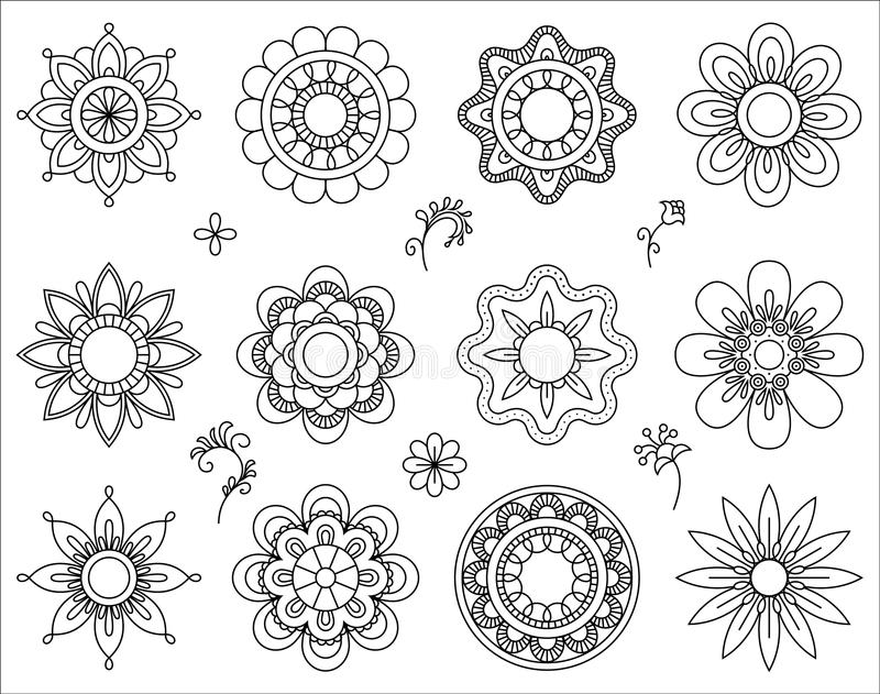 套花单音线象 稀薄的线混合设计元素汇集 逗人喜爱的小的花 简单的套花卉 库存例证