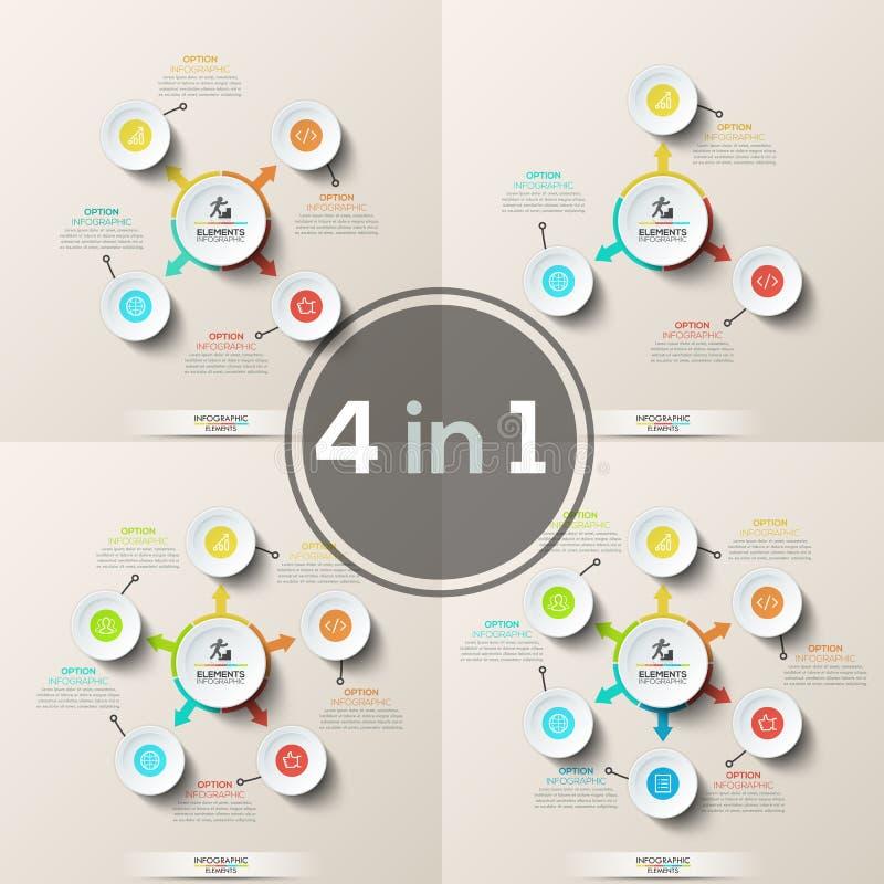 套花瓣图或圆图 与指向圆的元素的五颜六色的箭头的主要圈子和变薄 皇族释放例证