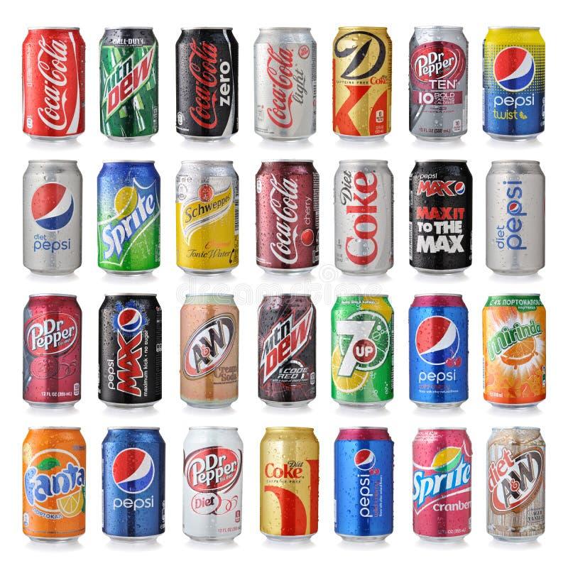 套苏打饮料各种各样的品牌  图库摄影