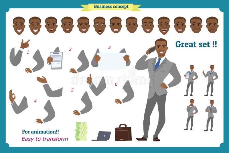 套英雄当前在各种各样的行动的商人 西装的愉快的年轻非洲黑人人 人字符 向量例证
