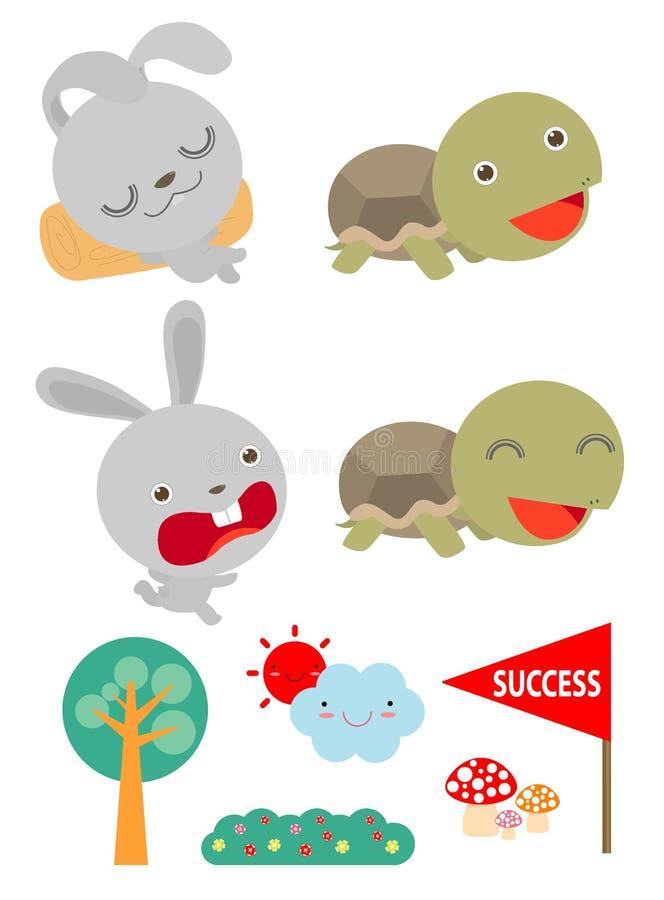 套草龟和一起赛跑野兔、的乌龟和的兔子赢取,平的样式隔绝在白色背景 向量 向量例证
