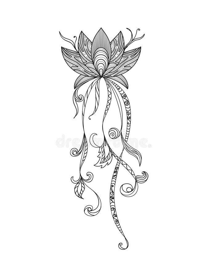 手拉的无刺指甲花花莲花元素,瑜伽设计 mehendi纹身花刺乱画汇集
