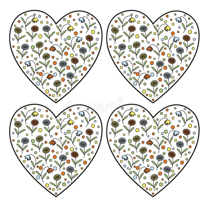 套葡萄酒传染媒介心脏盖印与里面雏菊花和风铃草 库存例证