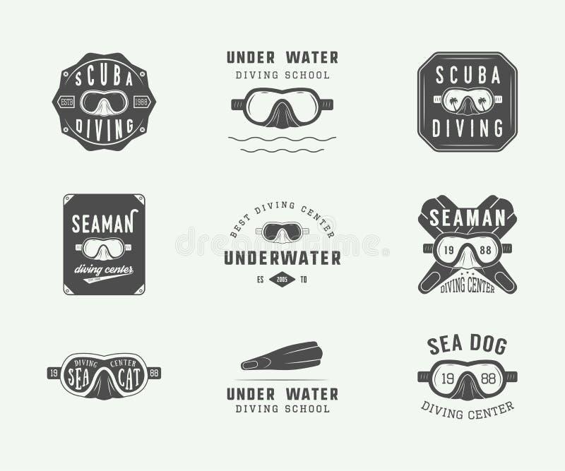 套葡萄酒佩戴水肺的潜水商标、标签、徽章和象征 皇族释放例证