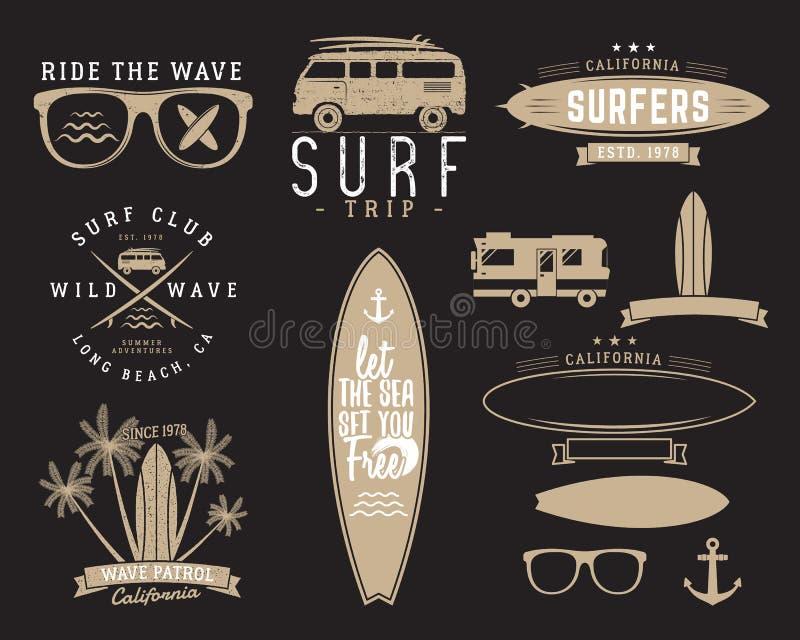 套葡萄酒冲浪的图表和象征网络设计或印刷品的 冲浪者,海滩样式商标设计 海浪徽章 皇族释放例证