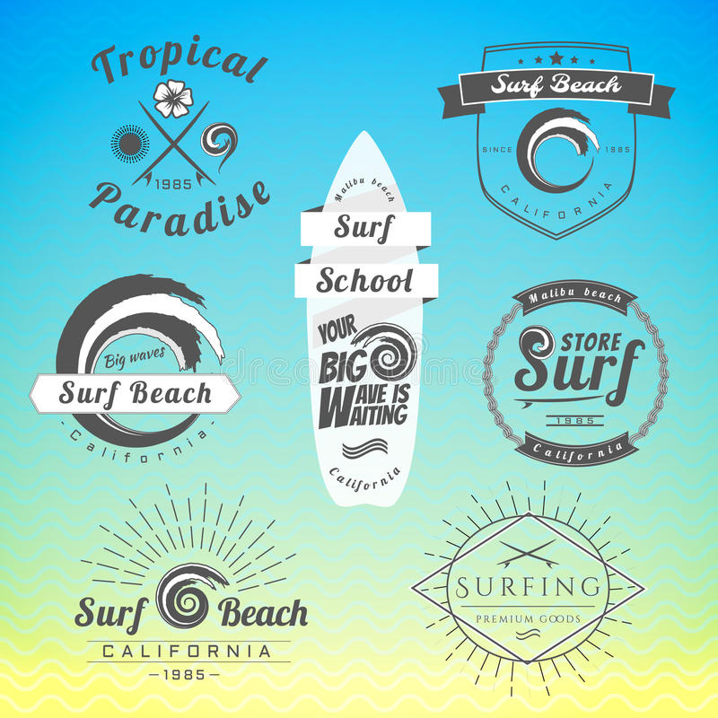 套葡萄酒冲浪的标签、徽章和设计元素 库存例证