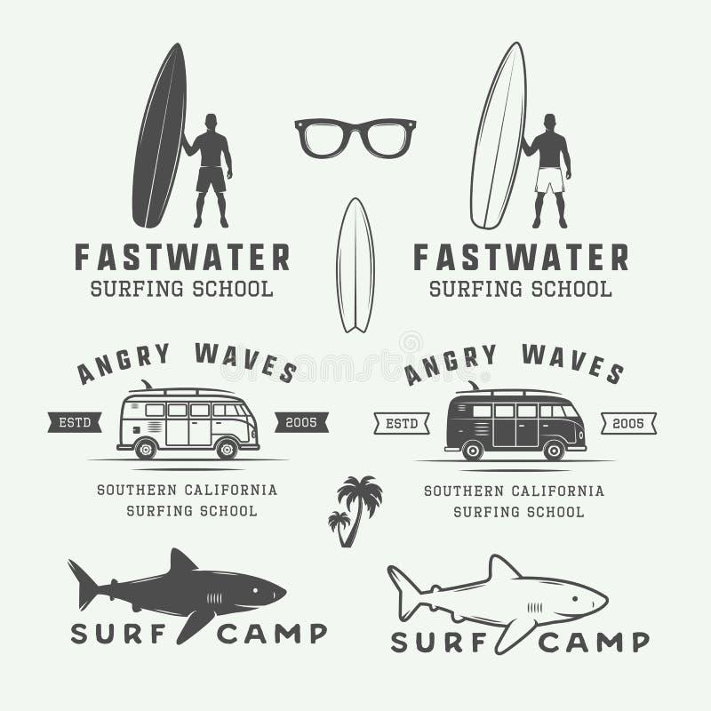 套葡萄酒减速火箭的冲浪,夏天和旅行商标,象征, 库存例证