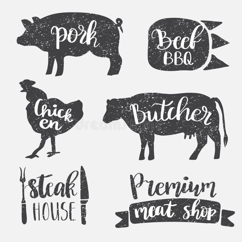 套葡萄酒减速火箭的徽章,标签,商标肉商店的,熟食店,熟食店商店,屠杀市场设计模板 向量例证