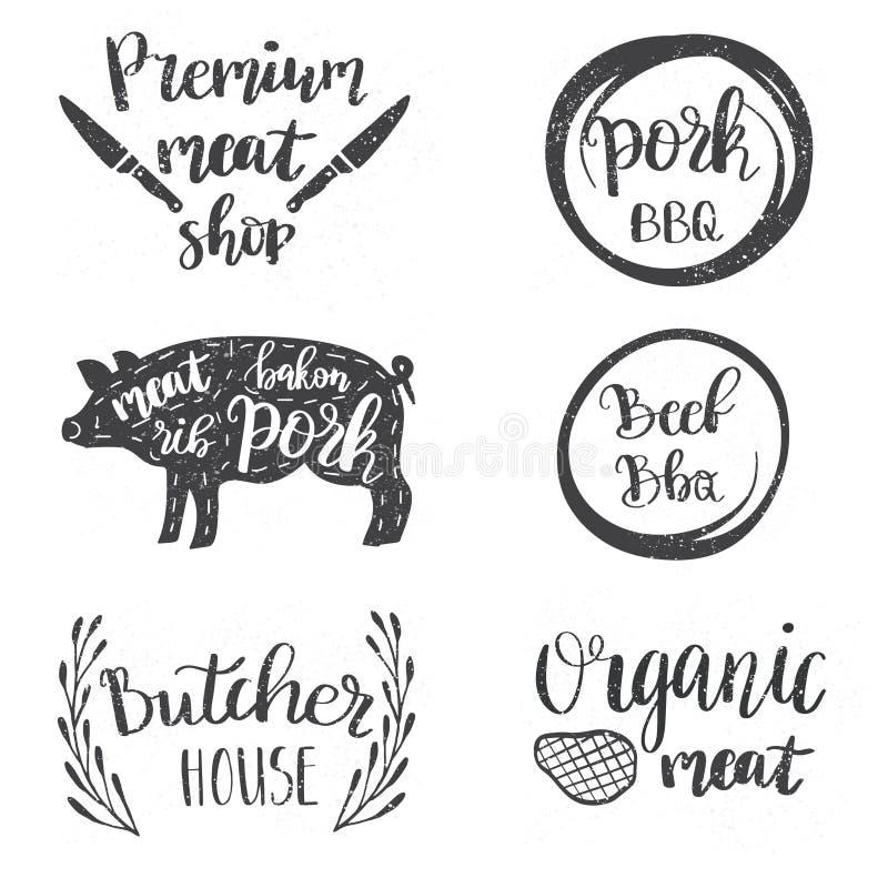套葡萄酒减速火箭的徽章,标签,商标肉商店的,熟食店,熟食店商店,屠杀市场设计模板 库存例证