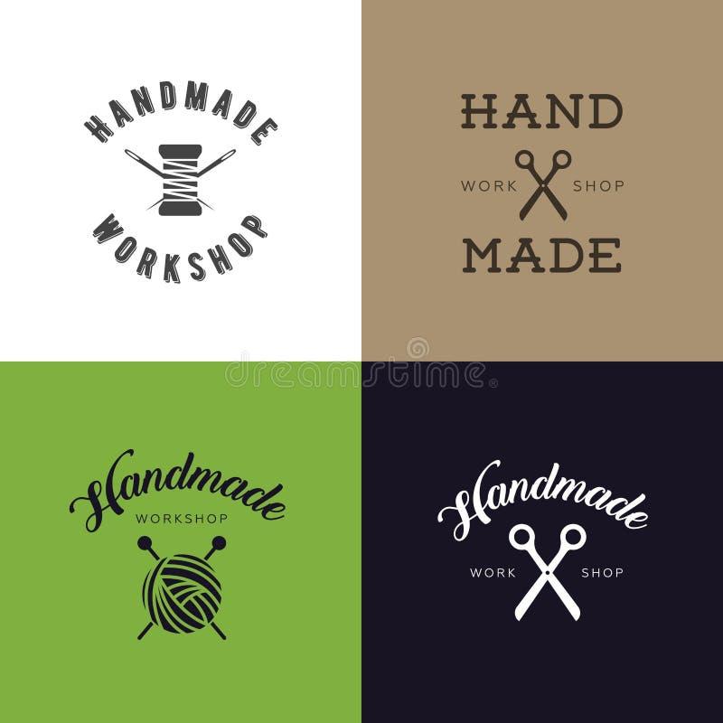 套葡萄酒减速火箭的手工制造徽章,标签和商标元素,地方缝合的商店的,编织俱乐部,手工制造艺术家减速火箭的标志或 向量例证
