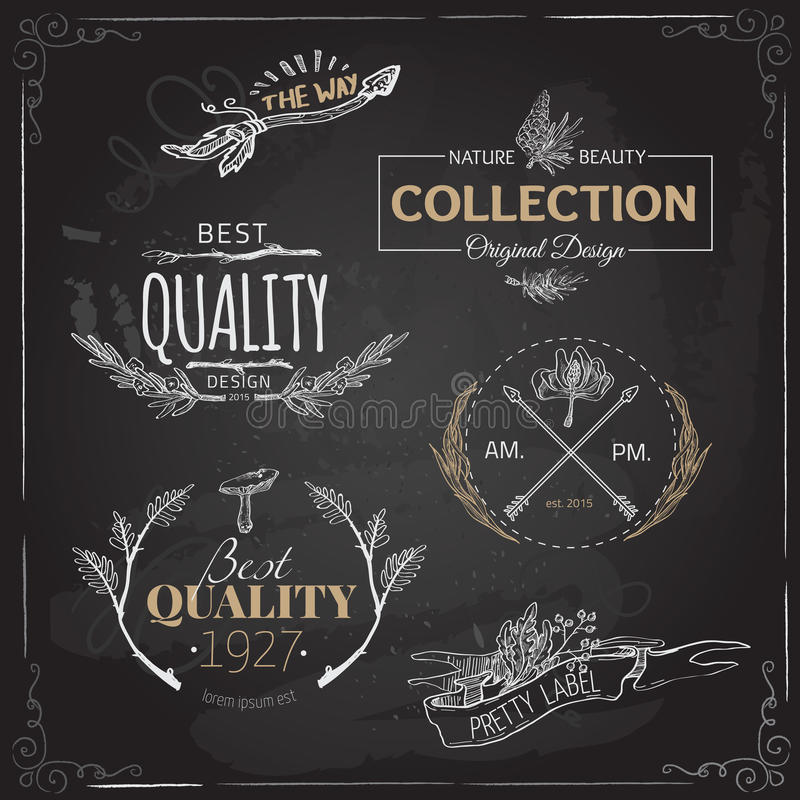 套葡萄酒和现代农厂商标标记并且设计 向量例证