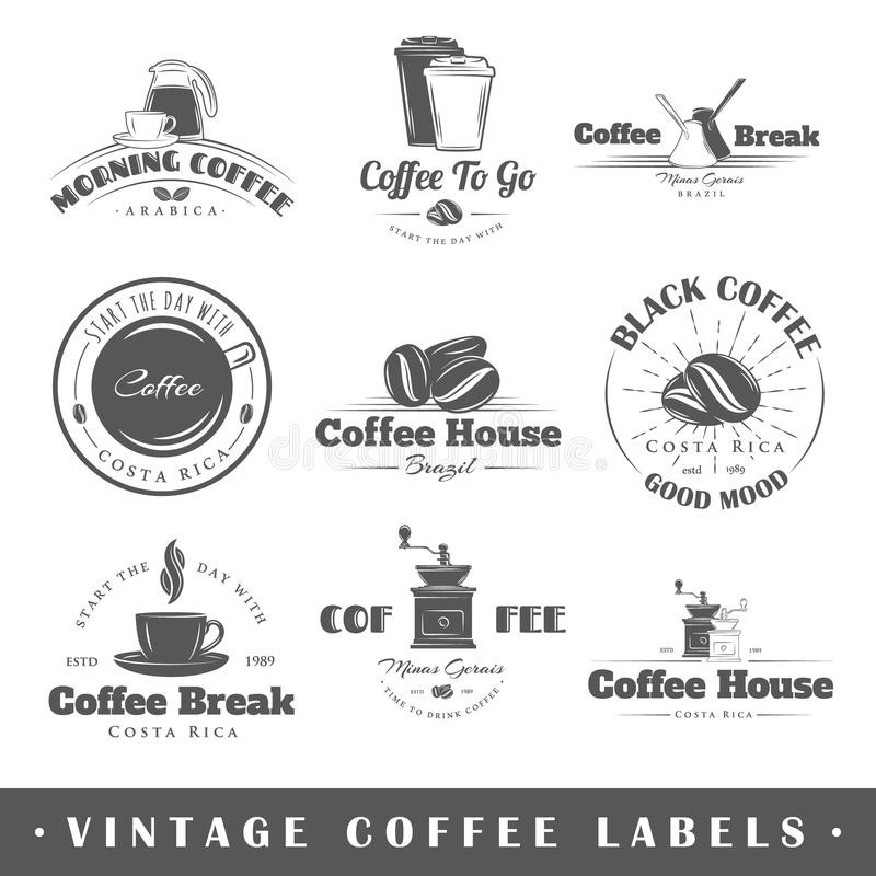 套葡萄酒咖啡标签 皇族释放例证