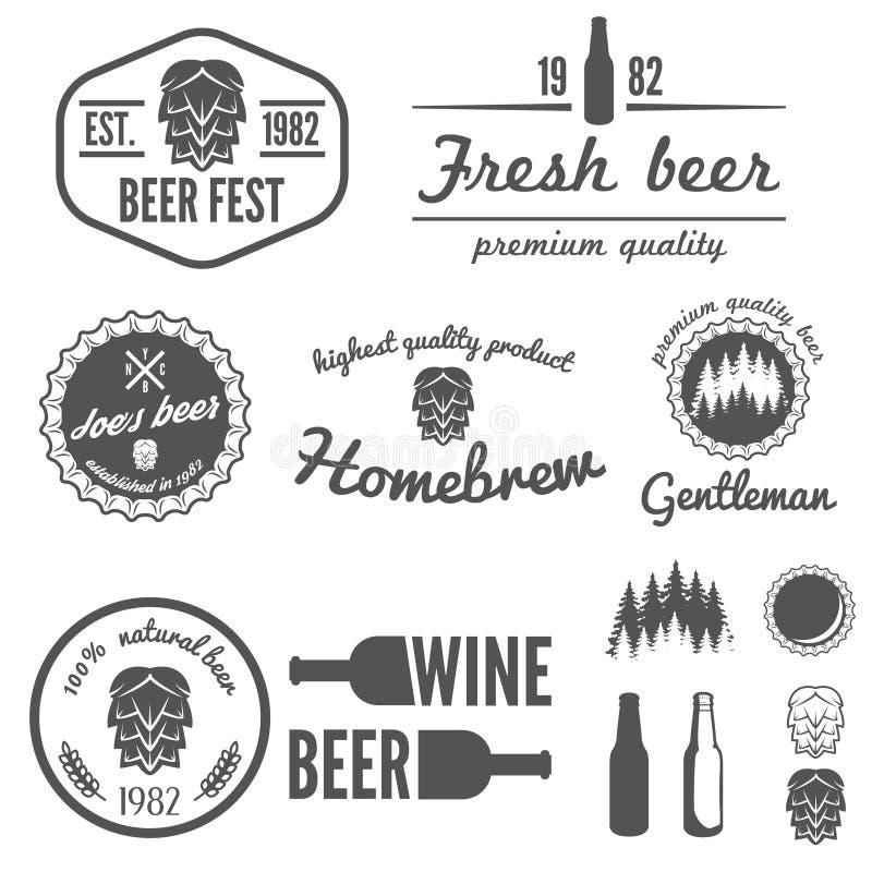 套葡萄酒商标、徽章、象征或者略写法 库存例证