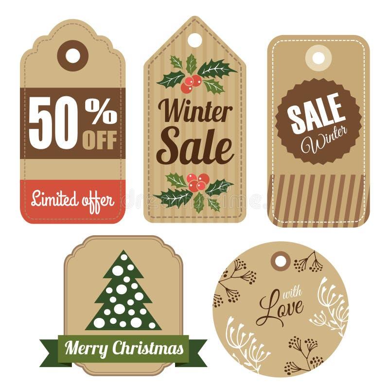 套葡萄酒圣诞节冬天礼物和销售标记,标签, 库存例证