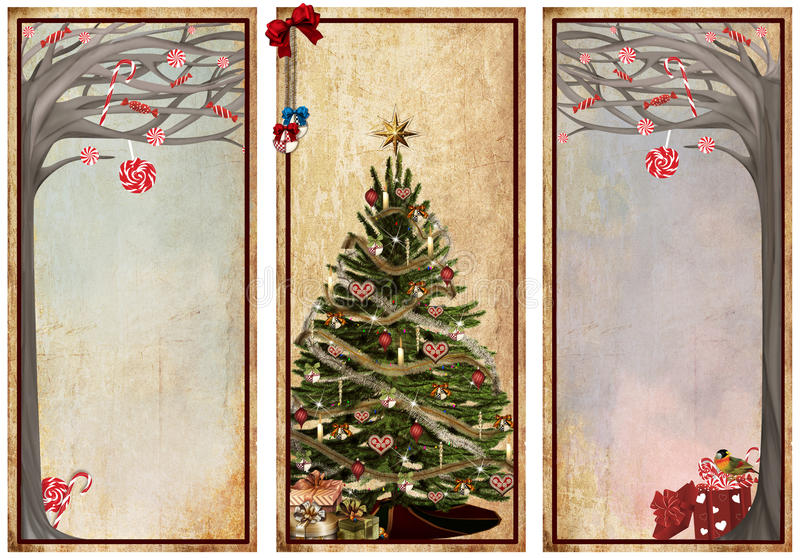 套葡萄酒圣诞节标签 库存例证