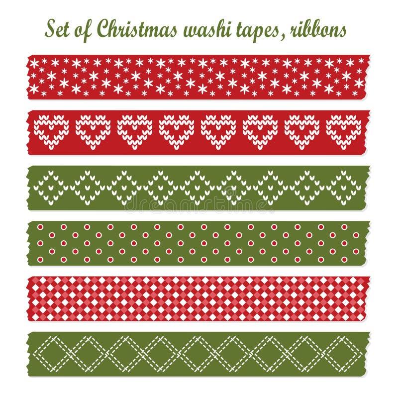 套葡萄酒圣诞节washi磁带,丝带,元素,逗人喜爱的设计样式 向量例证