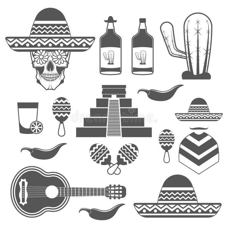 套葡萄酒墨西哥象,在白色背景在单色样式的设计元素隔绝的 库存例证