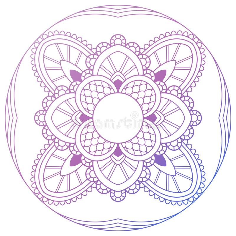 套葡萄酒婚礼邀请卡片与坛场样式和在颜色 印度瑜伽的凝思元素 装饰品 库存例证