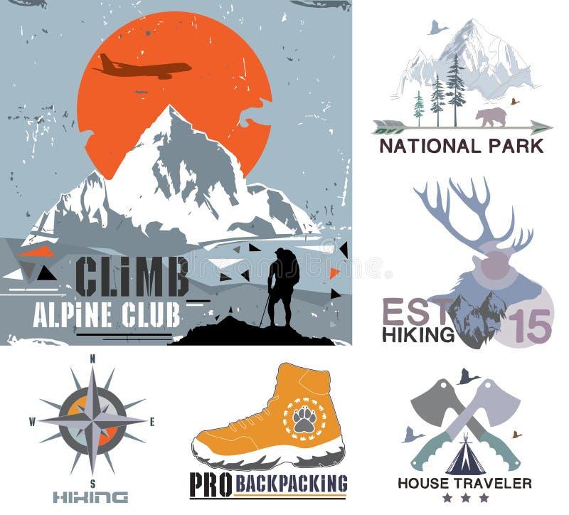 套葡萄酒室外阵营和国家公园徽章、商标和设计元素 葡萄酒印刷品,山旅行样式 向量例证