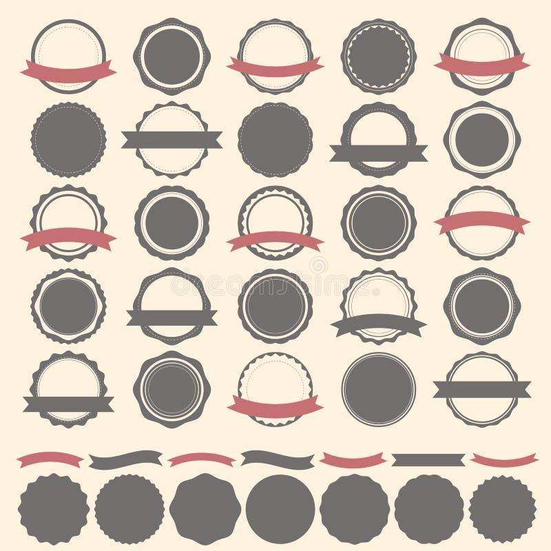 套葡萄酒徽章、标签和商标模板 传染媒介设计e 库存图片