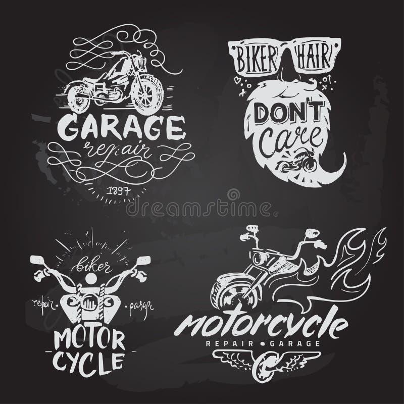 套葡萄酒摩托车象征,标签,徽章, 库存例证