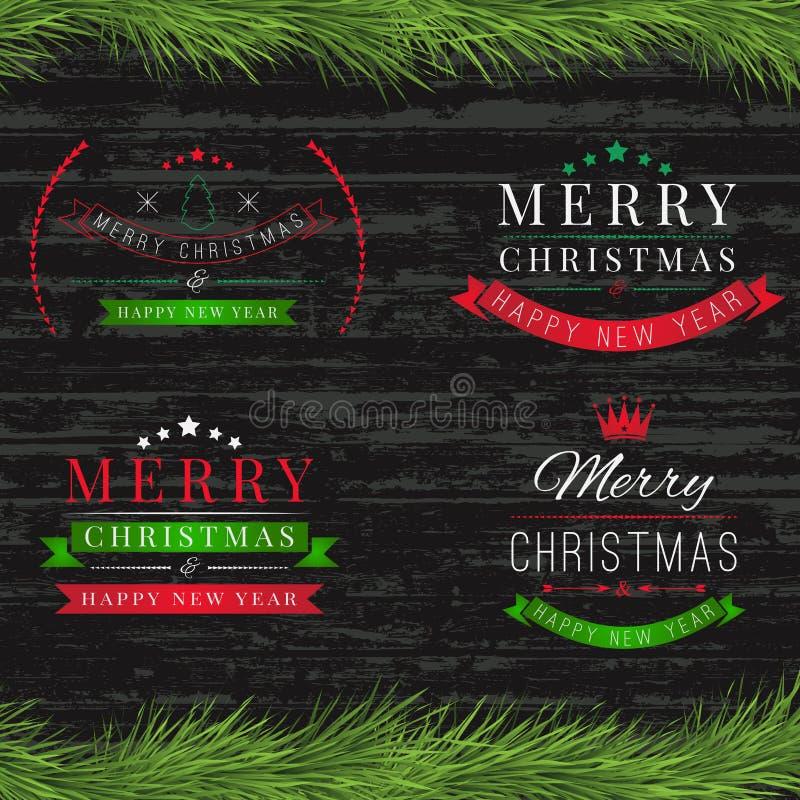 套葡萄酒新年快乐和在木头的圣诞快乐徽章 库存例证