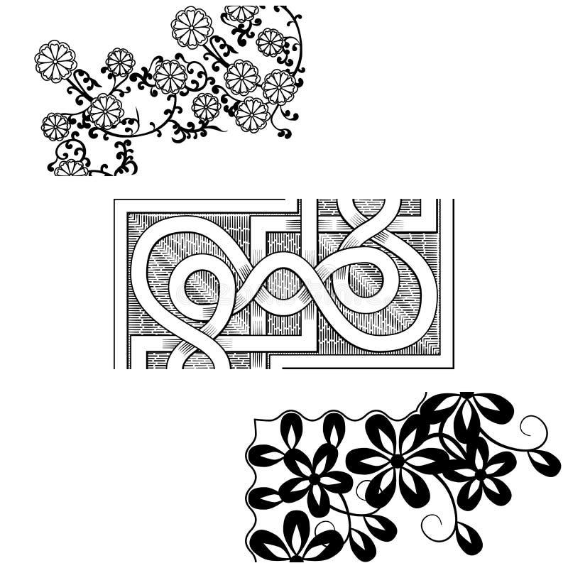 套葡萄酒无缝的边界壁角元素 维多利亚女王时代和中国式 库存例证