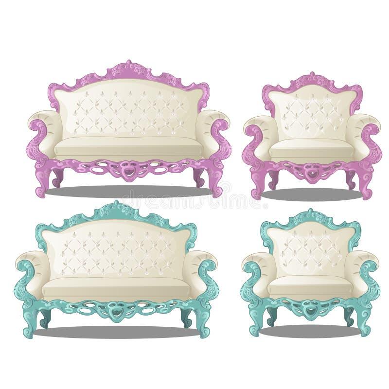 套葡萄酒沙发和椅子 在白色背景内部葡萄酒样式的家具隔绝的 动画片传染媒介 向量例证