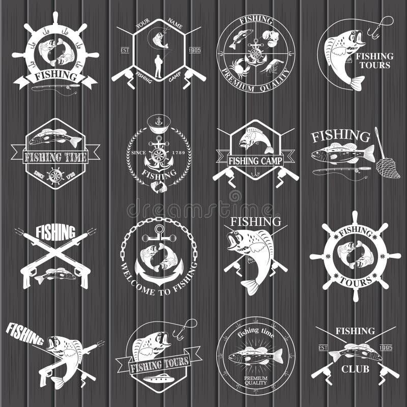 套葡萄酒渔标签、徽章和设计元素 皇族释放例证