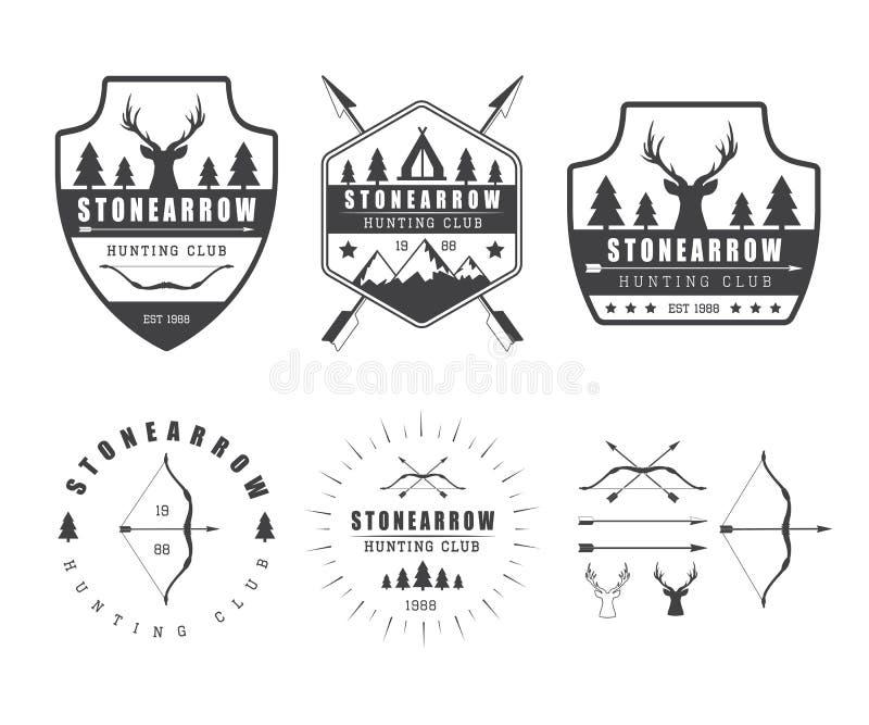 套葡萄酒狩猎标签、商标、徽章和设计元素 向量例证