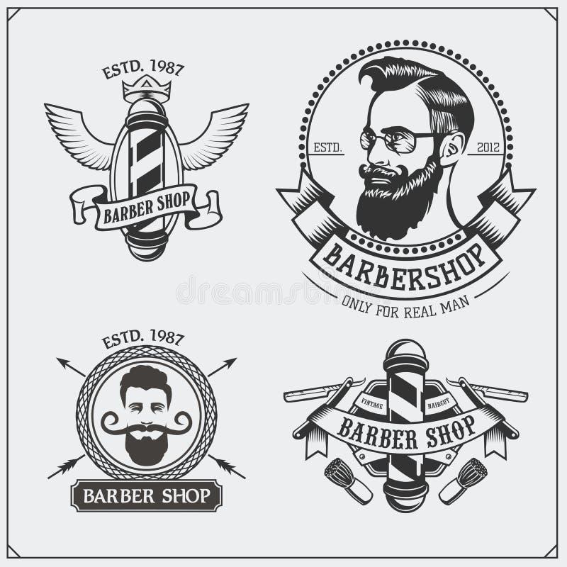 套葡萄酒理发店标签、徽章、象征和设计元素 库存例证