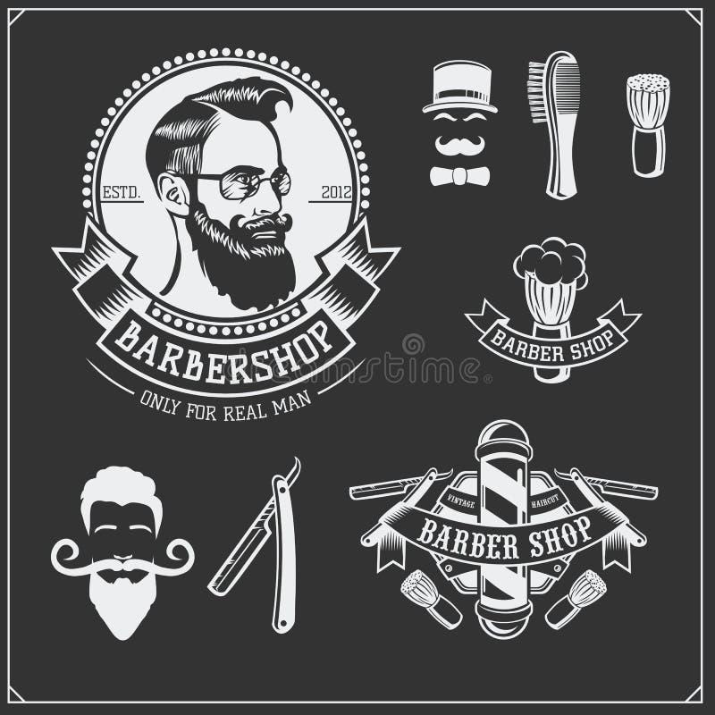 套葡萄酒理发店标签、徽章、象征和设计元素 皇族释放例证