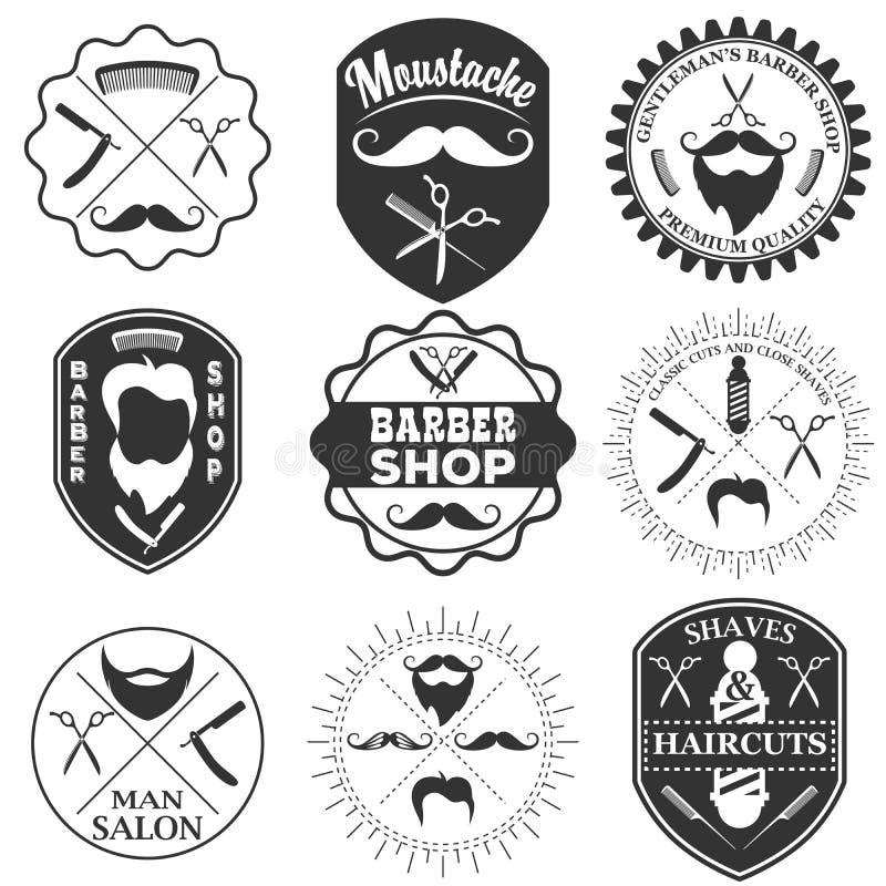 套葡萄酒理发店疯狂商标模板、的标签和的徽章 皇族释放例证