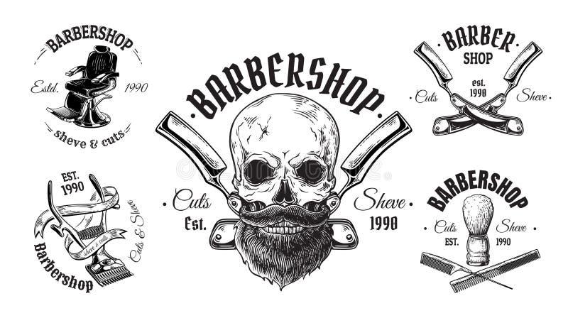套葡萄酒理发店象征标记徽章商标头骨头发 背景查出的白色 向量例证