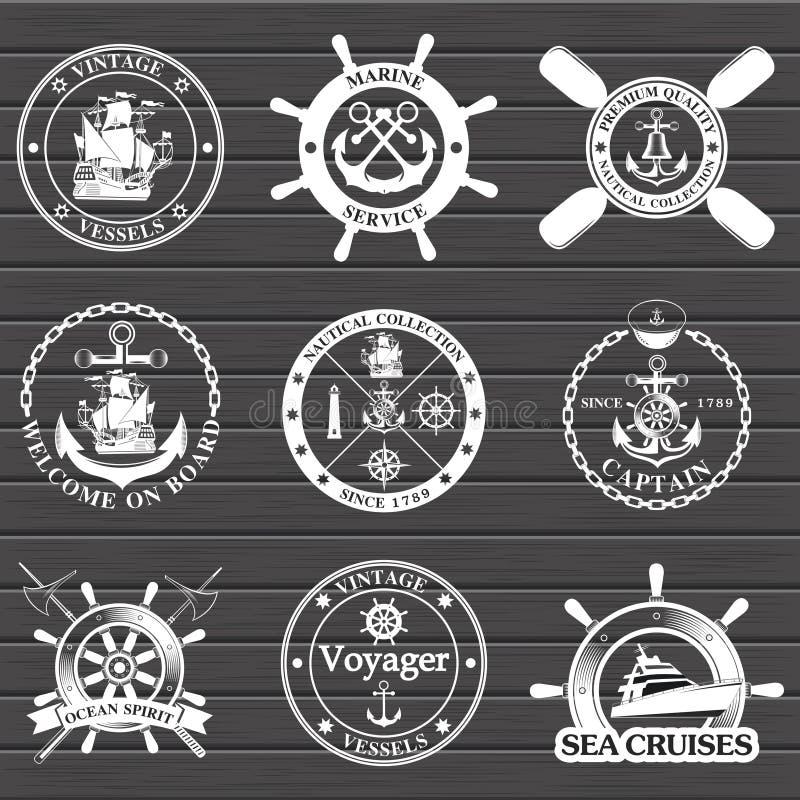 套葡萄酒船舶标签、象和设计元素 库存例证