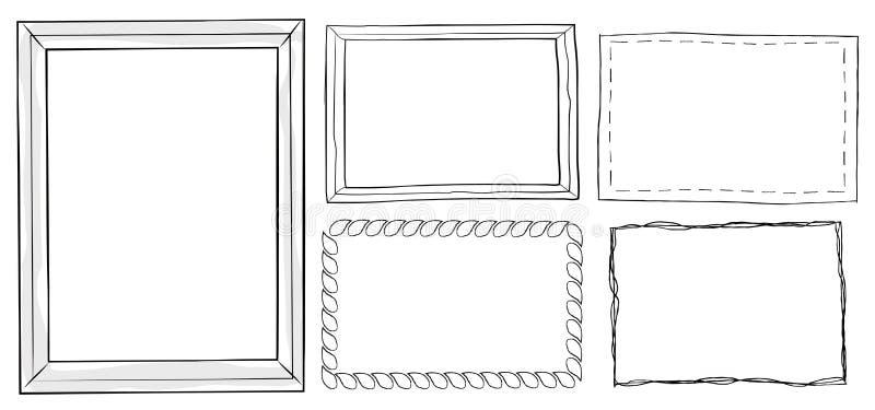 套葡萄酒装饰框架手拉的乱画 向量例证