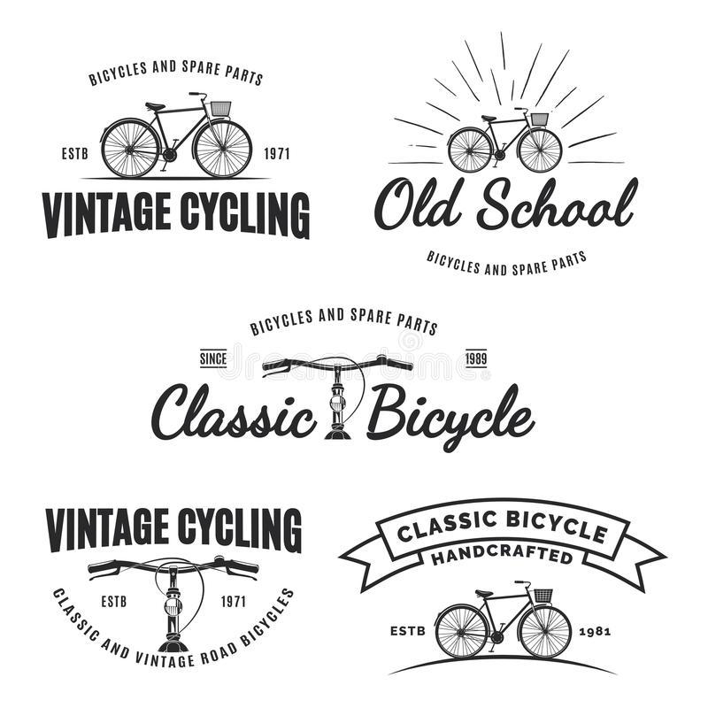 套葡萄酒路自行车标签、象征、徽章或者商标 向量例证