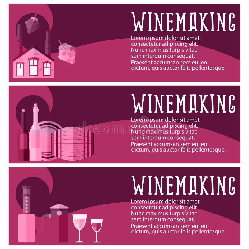 套葡萄酒酿造产业葡萄酒酿造的横幅反对 v 库存例证
