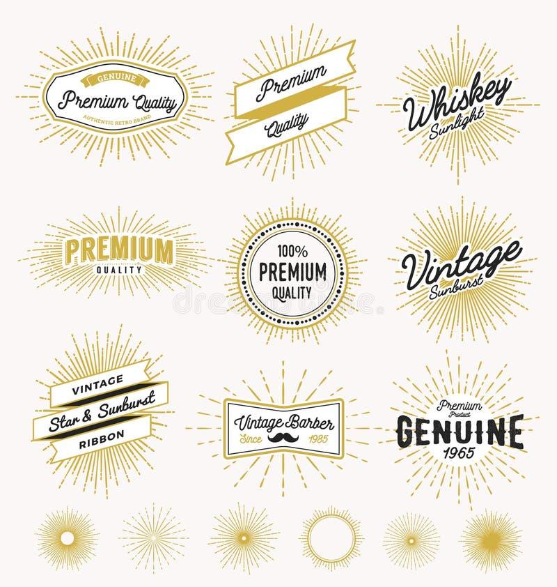 套葡萄酒镶有钻石的旭日形首饰的框架和标签设计 向量例证