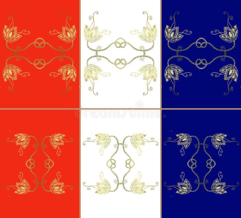 套葡萄酒陶瓷砖 三色明亮的背景 皇族释放例证