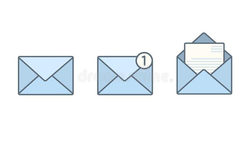 套蓝色平的信封与收到消息 库存例证
